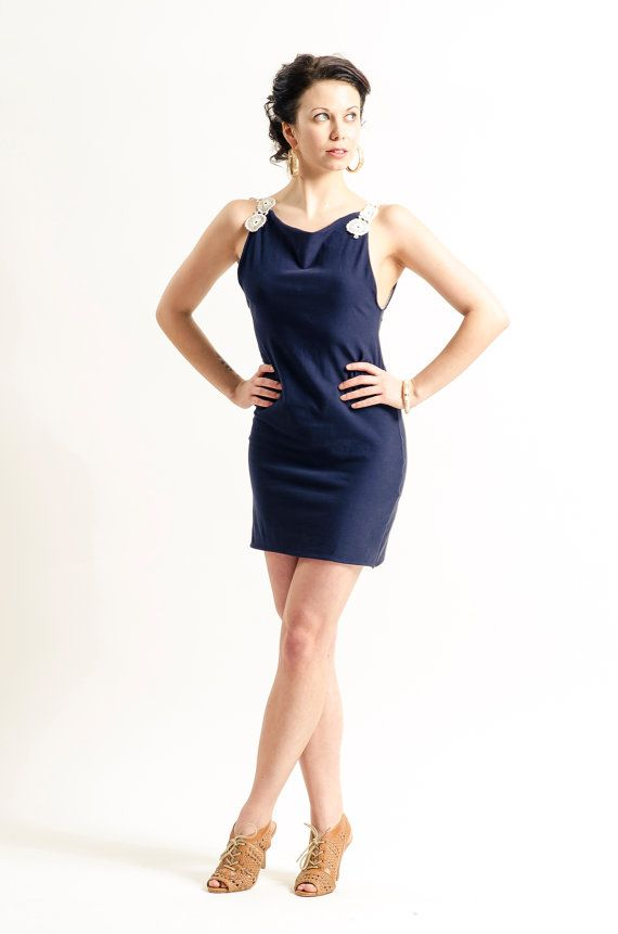 Navy Blue Knit Dress with White Lace Strapes by KandisIvy on Etsy, $45.00