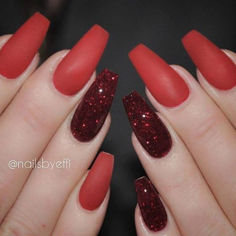 Matte red nails anyone ? By @nailsbyeffi tag a friend follow  @video_tutorials_  @video_tutorials_