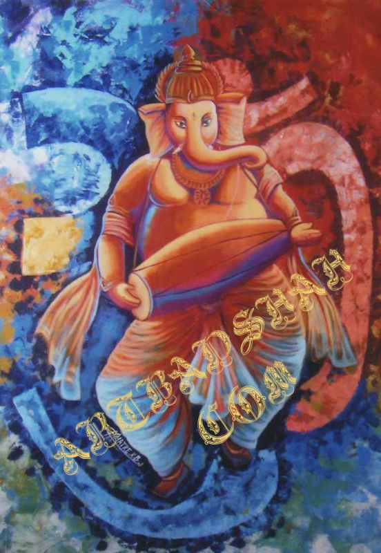 Dancing Ganesha – Beautiful Painting of Dancing Ganesha while playing Mridunga