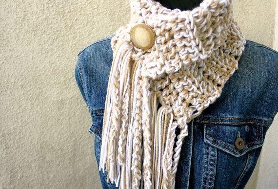 BACK IN STOCK - CREAM SODA COWL / Scarf with fringe and button (new button) - If this is sold out, contact shop owner for reserved listing.