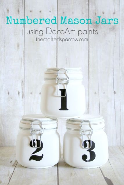 The Crafted Sparrow: Numbered Mason Jars - using DecoArt paints
