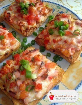Бутерброды горячие с сыром и колбасой