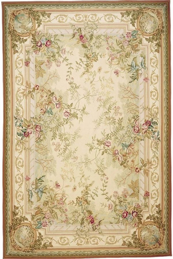 Needlepoint Oriental Hand Knotted Wool Beige Brown Area Rug Needlepoint Rugs Shabby Chic Rug Aubusson Rugs