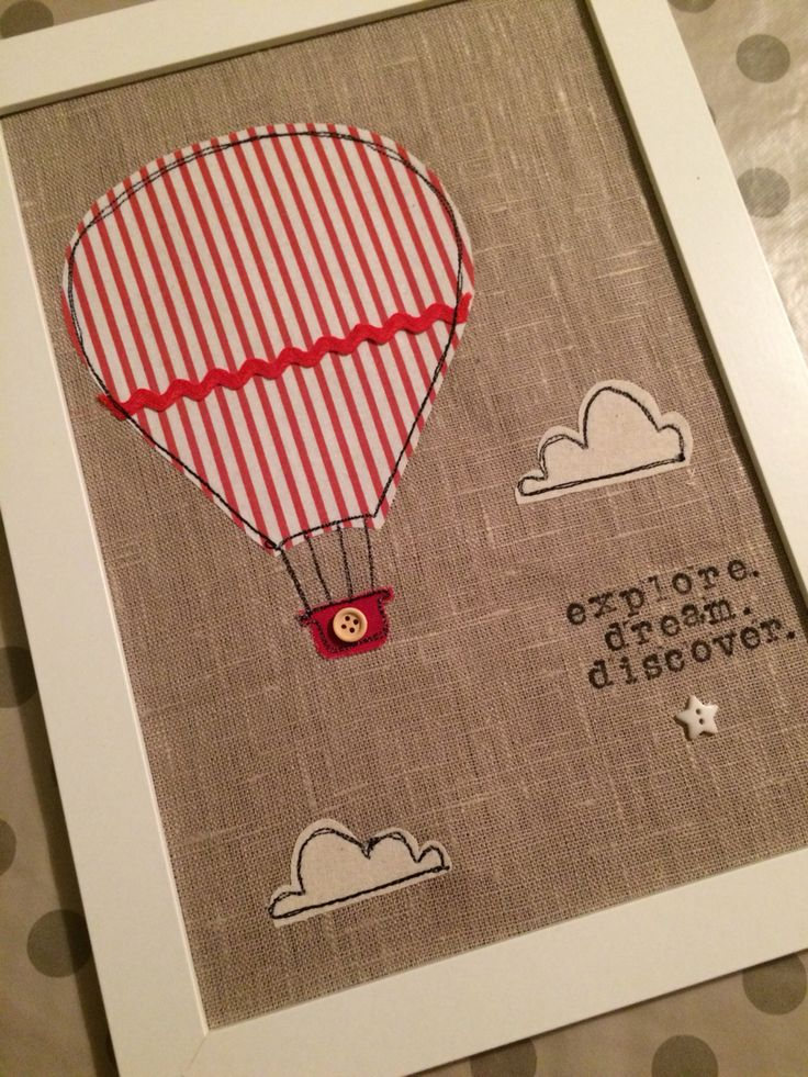Quadro stoffa fabric picture air baloon mongolfiera baby red eseciriescoio.wordpress.com