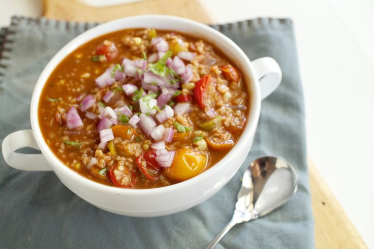 Bulgur Chili (vegan) It's in the 90s today, but a girl can dream...