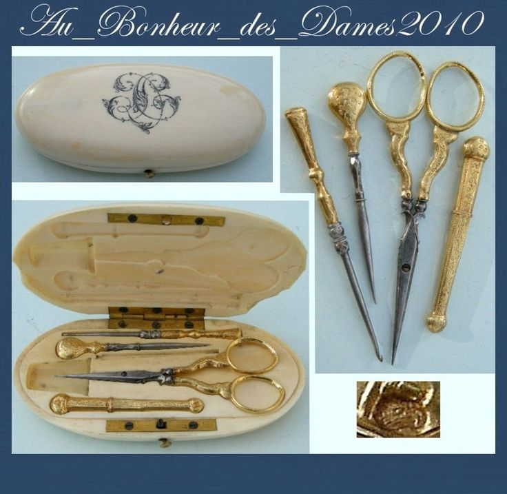 N cessaire set de couture ancien or massif ciseaux french for Necessaire a couture en or