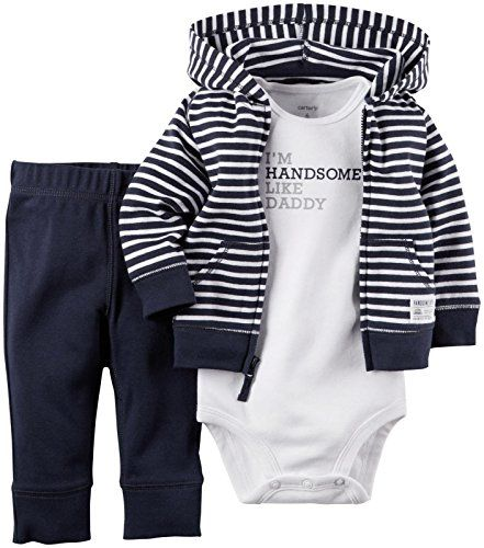 Carter's 3 Piece Cardigan Set (Baby) - Navy Stripe Carter's is the leading brand of children's clothing, gifts and accessories in America, selling more than 10 products for every child born in the U.S. Their designs are based on a heritage of quality and innovation that has earned them the trust of generations of families.