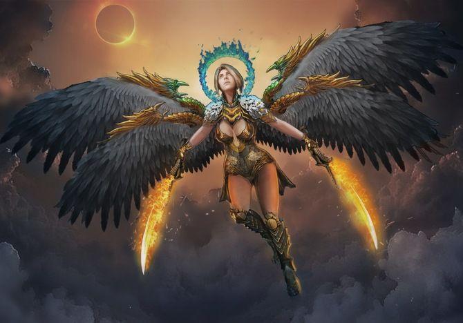 солнце, девушка, пожар, ножки, тело, ведьма, небо, меч, лезвие, фэнтези, затмение, магия, крылья