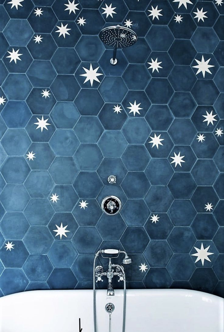 Moody Blue Hexagon Wall Tiles With White Star Accents Colorful