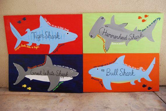 All Sharks 1- Great White Shark, Hammerhead, Bull Shark and Tiger Shark/ surf plaques on Etsy, $140.00