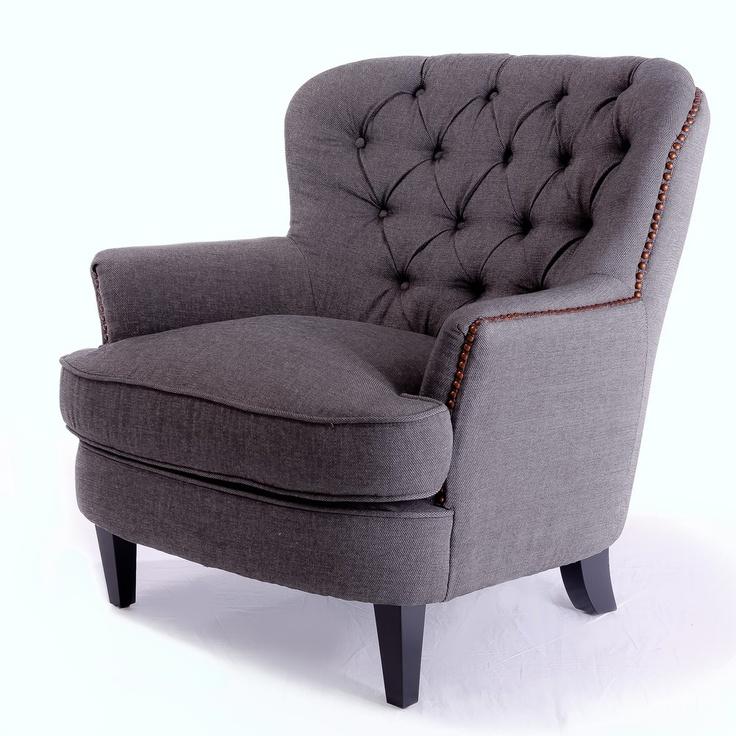 Elegant Tafton Tufted Grey Fabric Club Chair   Overstock.com