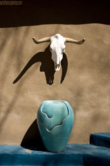 Skull with turquoise pot
