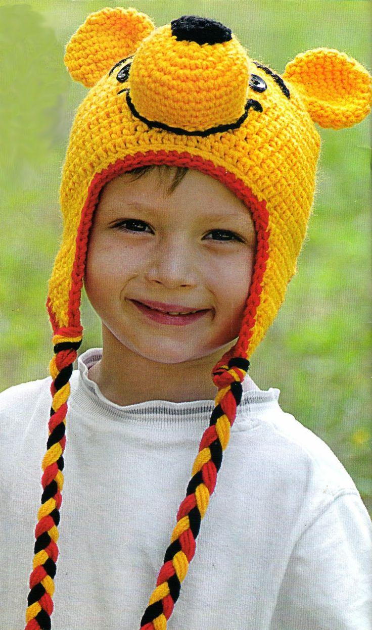tejidos artesanales en crochet: gorro winnie pooh tejido en crochet