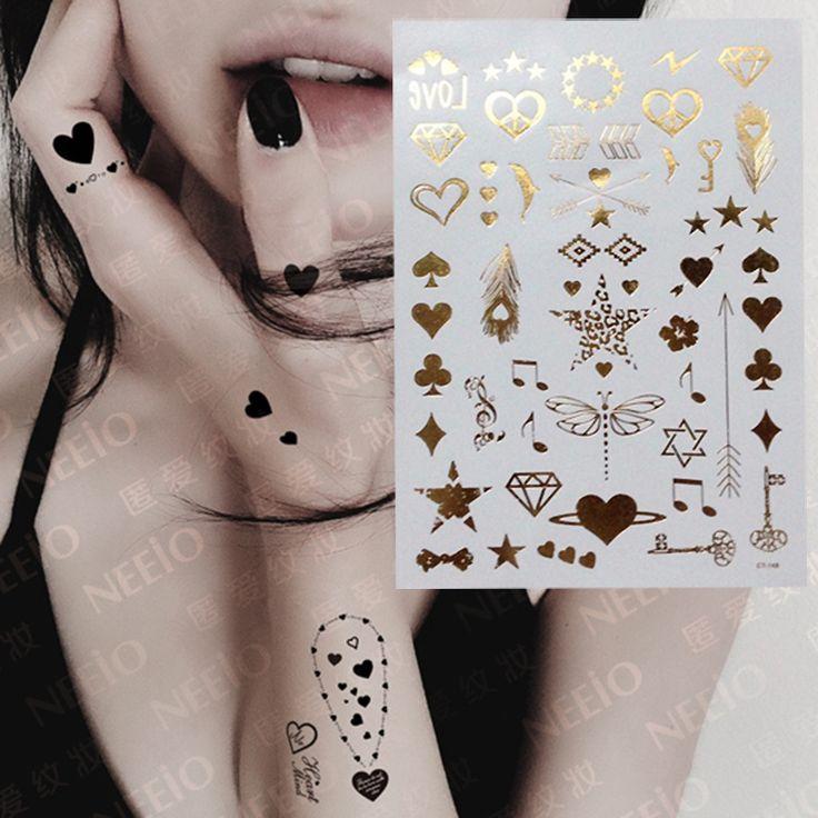 여성의 섹시한 다이아몬드 심장 잠자리 문신 금속 골드 실버 플래시 임시 방수 문신 스티커