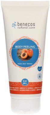 Benecos Natural Body Peeling Apricot & Elder: scrub eco bio dalla consistenza di un gel, delicato ma efficace nell'azione esfoliante data dai granuli dei noccioli di albicocca. Ottimo e delicato profumo di albicocca. Ottimo rapporto qualità /prezzo.