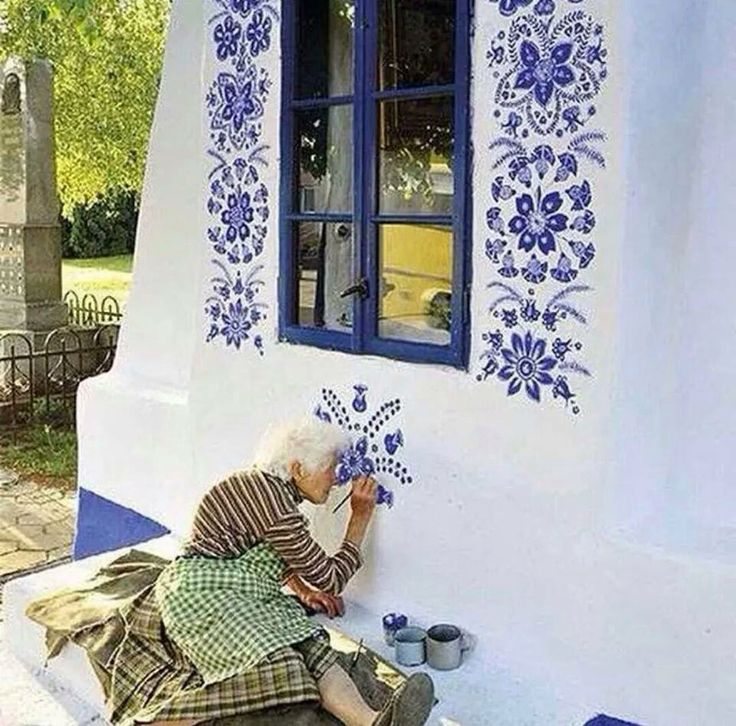 Traditional folk art in house walls Romania/Hungary/Ukraine/Poland