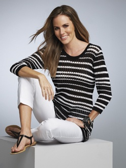 BLACK 5    S13433  Striped Pullover Sweater  Available in *Black/White  Sizes: XS - XXL    S13920  Flared Cable Knit Pullover  Available in *Black/White  Sizes: 2 - 18  Also Available in Woman's Sizes W14 - W24