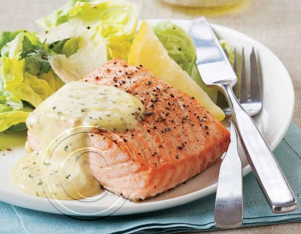 2014 Recipe Promotional Calendars - July 2014 - Salmon with Béarnaise Sauce (Serves 4)  4 six oz [175 g] salmon fillets  Béarnaise Sauce:  ½ cup [125 mL] white wine  2 tbsp [30 mL] finely chopped shallots  ½ tsp [3 mL] crushed white peppercorns  1 tbsp [15 mL] finely chopped fresh tarragon  2 tsp [10 mL] finely chopped fresh parsley  3 egg yolks  ¾ cup [175 mL] unsalted melted butter    In fry pan poach salmon ... visit www.promocalendarsdirect.com/recipes for complete recipe.