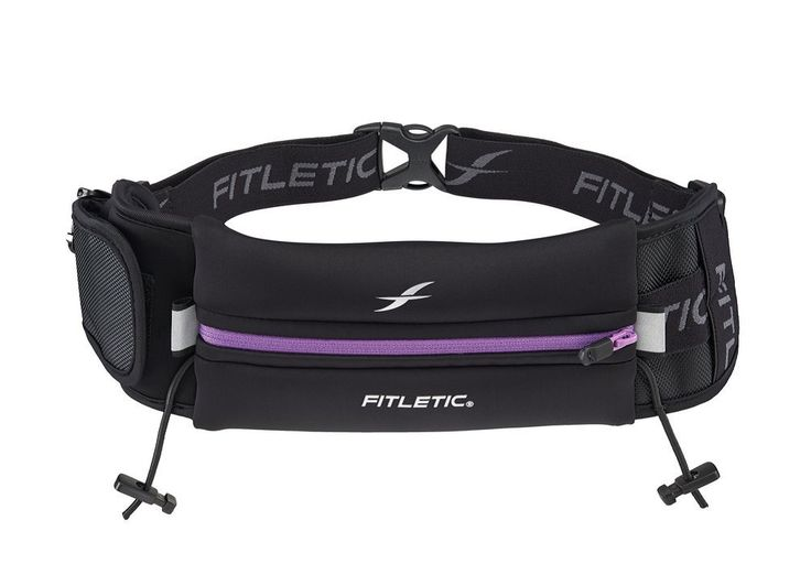 Fitletic Ultimate Race Belt II, Black/Purple, One Size Fits All. Fits most phones, including iPhone 6 plus and Samsung Galaxy S5. Water resistant neoprene pouch fits virtually any size smart phone. Extra mini pouch for your keys MP3 or inhaler, a special inner pocket will keep your ID/credit cards and room key secure. Toggles to attach your race number and reflector strips for night time safety. 5 elastic loops will hold your gells on your belt for easy access.