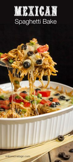 A fantastic Mexican Spaghetti Baked casserole that's simple to throw together.  Uses pantry staples and is DELICIOUS!