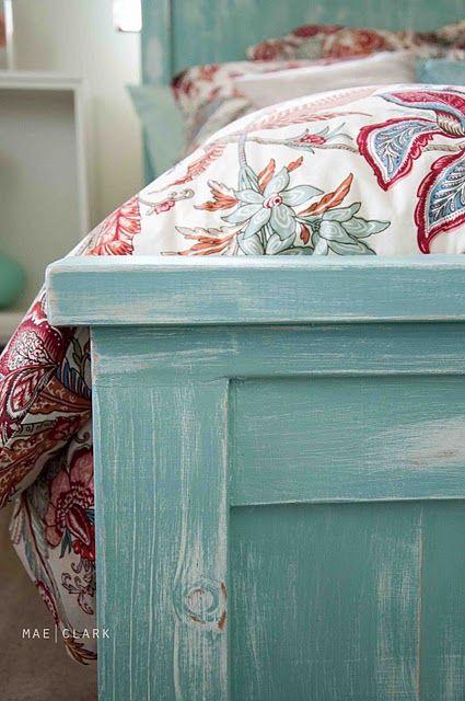beachy farmhouse bed. love the color. fun.