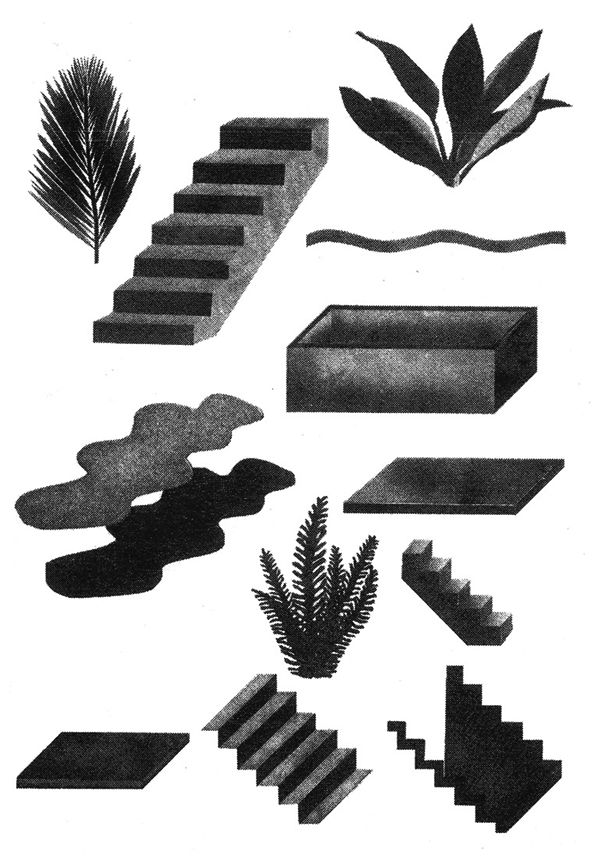 "Risoprint from the zine ""plants + spaces = places"" by Tali Bayer"