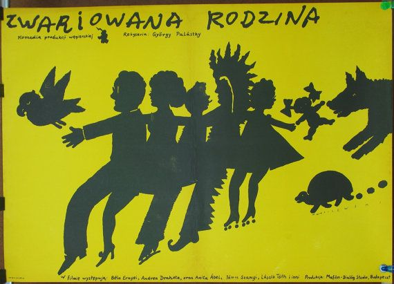 The poster for the Hungarian film by György Palásthy. Artist M.Wasilewski 1983. Comedy/Family/Unique poster/Rare poster/Wall art/Decor