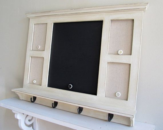 Message Center With Hooks Chalkboard Magnet Board By Shugabeelane Shabby Chic Kitchen Office Wall Decor