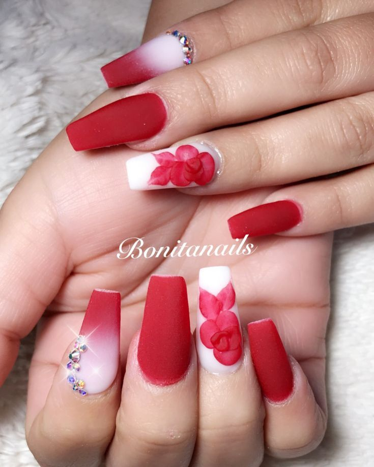 44 Cute Matte Red Nail Designs Summer 2018 Red Nail Designs