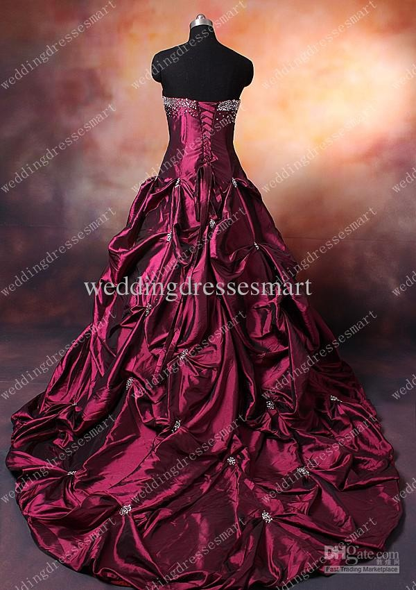 Taffeta Strapless Sweetheart Neckline With Ball Gown Pick Up Skirt Lace Wine Red Wedding Dresses In 2018 Weddings