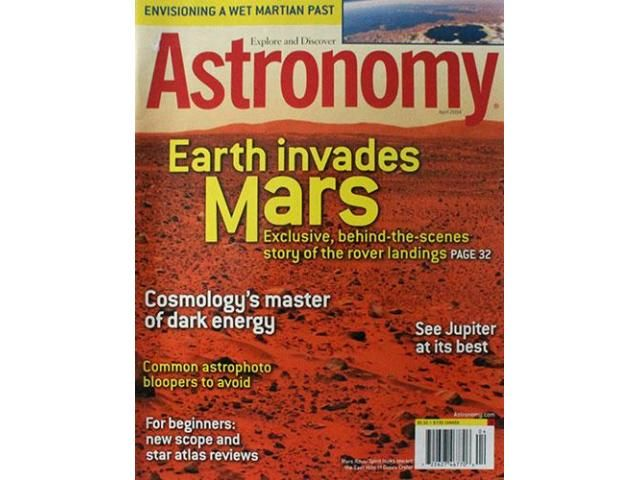 Astronomy magazine from April 2004 for sale Envisioning a wet martian past Earth invades Mars. Exclusive behind the scene story of the rover landings.