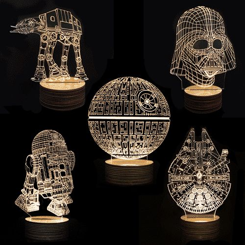 new disco star wars 3d deco lamps dark cable and light panel. Black Bedroom Furniture Sets. Home Design Ideas