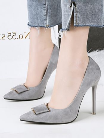 2ae517f1d3 Solid Color Pumps Stiletto Heel Pointed Toe Slip-On Heels in 2019 ...