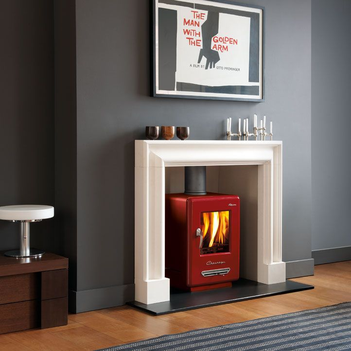 Chesney's - Bolney Stoves Ltd 01444 871815 This model the alpine 6 (6kw)  Available in black, ivory, sage green, atlantic blue, terracotta, DEFRA exempt for use in smoke control areas which means it can be safely and legally used to burn logs in all major cities and towns throughout the UK. Net efficiency rating 79.7%. Also available as a 4KW wood burning stove. All displayed prices for black finish. Optional colours additional £50.00 +VAT.