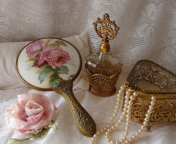 Antique Victorian Roses Porcelain Hand Mirror by NewEnglandVintage// Love the perfume bottle!