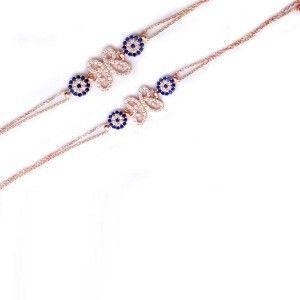 Kelebek modelli ve çift nazar boncuklu, 925 ayar gümüş bayan bileklik