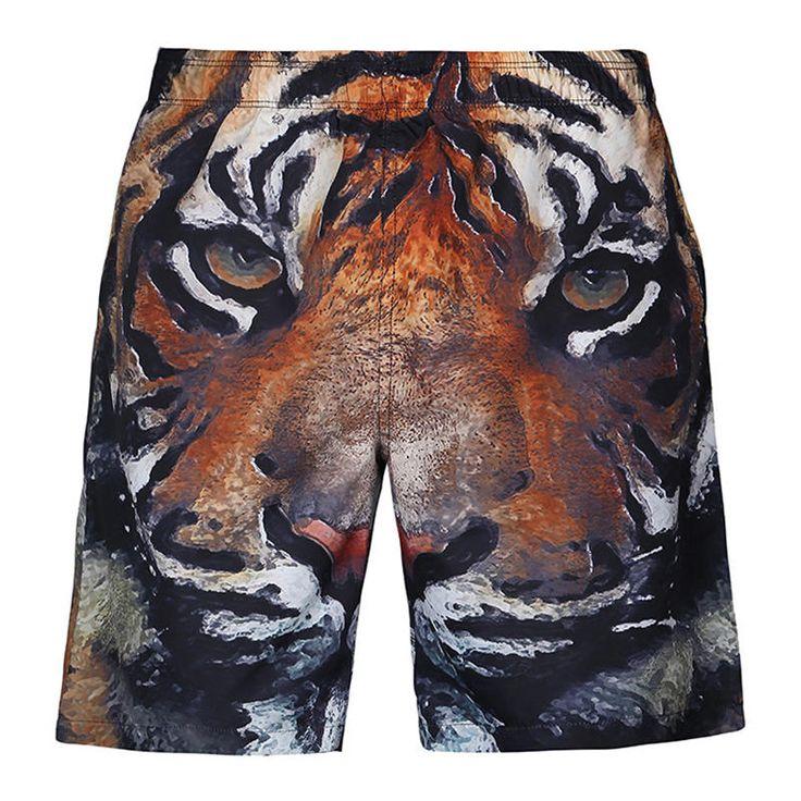 [US$19.99] S5254 Beach Shorts Board Shorts 3D Tiger Head Printing Fast Drying Wa…