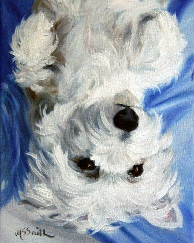 By Mary Sparrow Smith from Hanging the Moon - westie laid back, dog art, pets, portrait, gift ideas, home decor