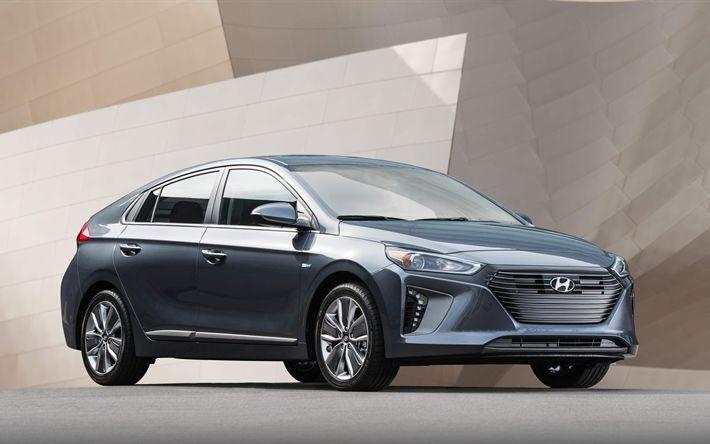 Download imagens Hyundai IONIQ, 4k, carros elétricos, Green Good Design Award, 2017 carros, Hyundai