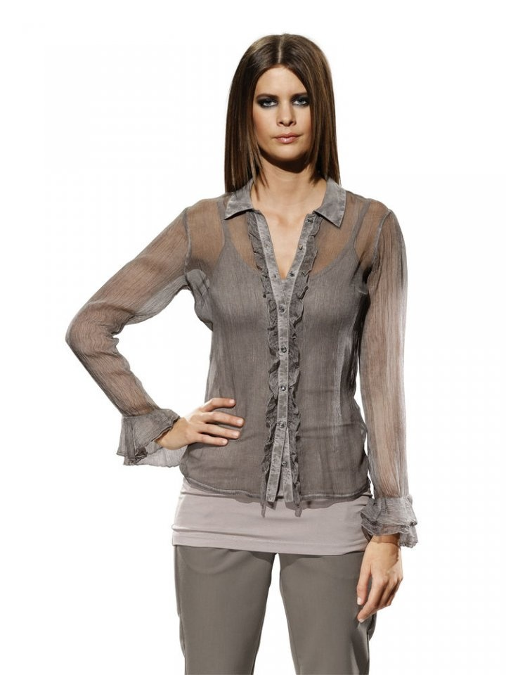 heinebymos.gr - Μεταξωτό πουκάμισο σε γκρι μπεζ by Patrizia Dini #fashion