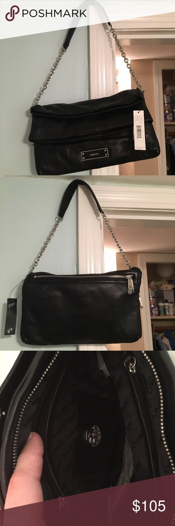 DKNY Shoulder bag Black genuine leather DKNY handbag. Brand new. Authentic. Never been used. Has multiple pockets for storage. Still has tags! Silver embellishments! DKNY Bags Shoulder Bags