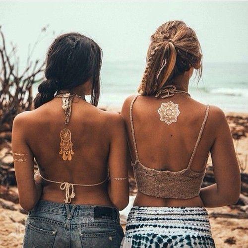 Metallic tattoos.   Hippie | Boho | Gypsy | Inspiration | Festival | Fashion | Style | Model | Girl | Photography