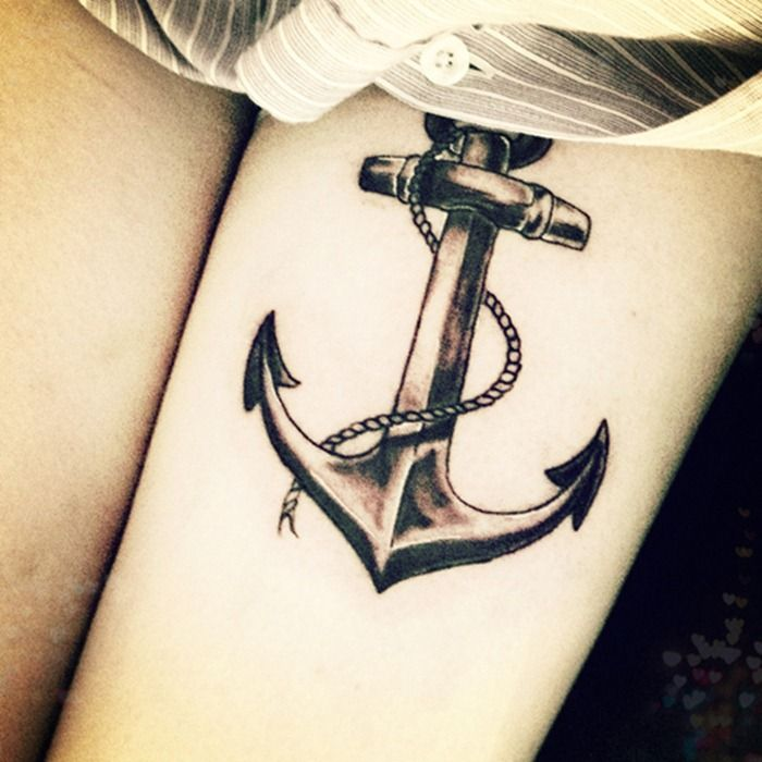 Wonderful Anchor Tattoo Design With Rope | Tattoo Styles