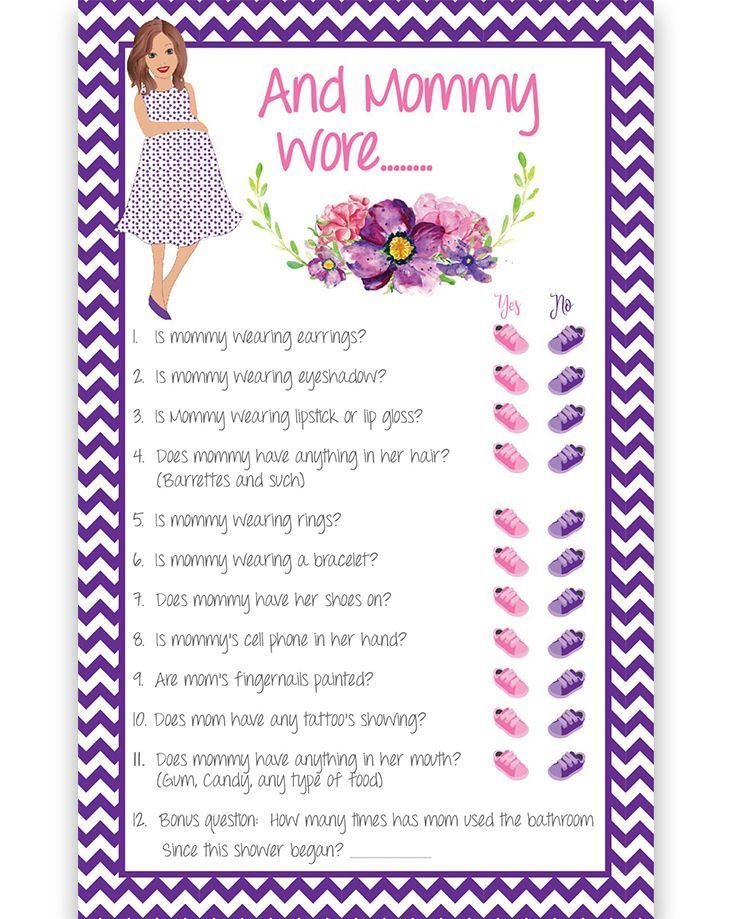 And Mommy Wore Baby shower game with pregnant mommy and purple chevron and watercolor flowers. Great for Couples Showers too.