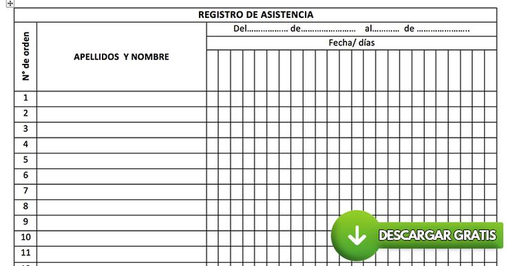 Formato para registro de asistencia