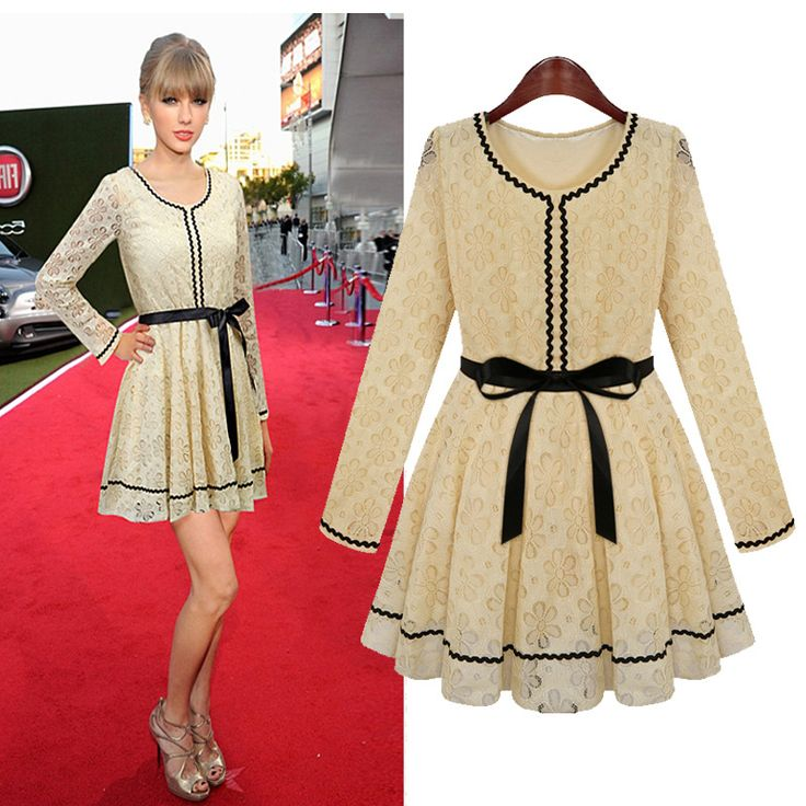 New Style O Neck Long Sleeve Pleated Apricot Chiffon Mini Dress_Dresses_Womens Clothing_Cheap Clothes,Cheap Shoes Online,Wholesale Shoes,Clothing On lovelywholesale.com - LovelyWholesale.com