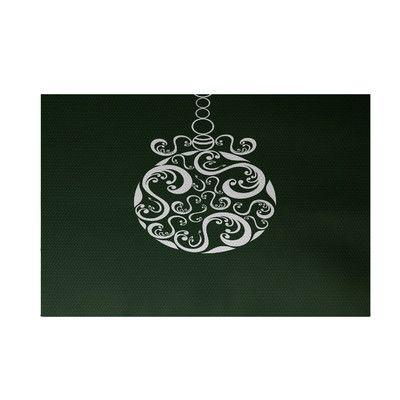 House of Hampton Decorative Holiday Print Dark Green Indoor/Outdoor Area Rug Rug Size: 3' x 5'