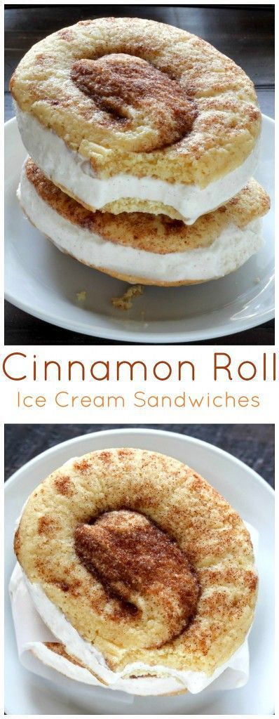 These Soft and Chewy Cinnamon Roll Cookies are stuffed with homemade Brown Butter Ice Cream! Cinnamon Roll Ice Cream Sandwiches Recipe | Baker by Nature