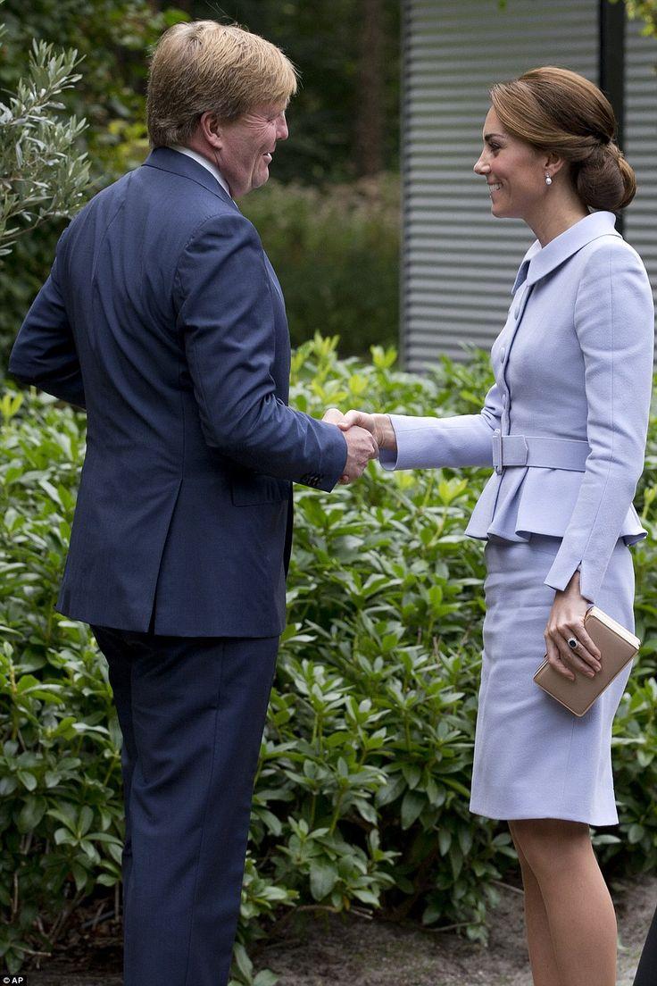 Catherine, Duchess of Cambridge meets King Willem Alexander of the Netherlands atVilla Eikenhorst on October 11, 2016 in The Hague, Netherlands.