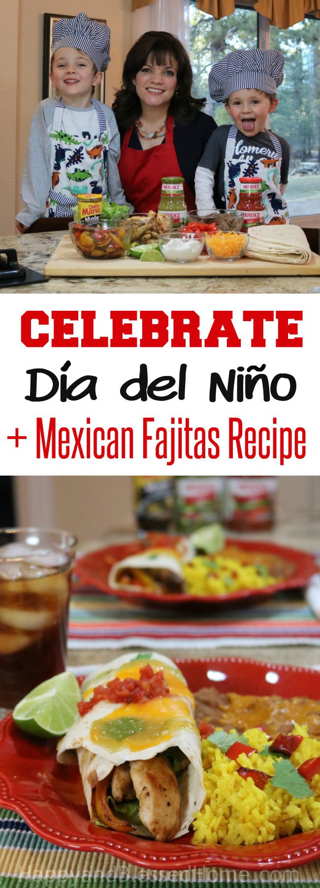 Have fun cooking with Kids with this Easy Mexican Fajitas Recipe and celebrate Día del Niño! Would you like to enter to WIN a prize valued at $1,000? Enter the Celebrate Your Chef Giveaway on the HERDEZ® Brand Facebook and Instagram  pages by taking a photo of you and your child making a meal together to be entered to win. Ad